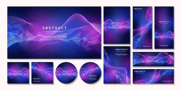 Multipurpose abstract gradient business background stationery set