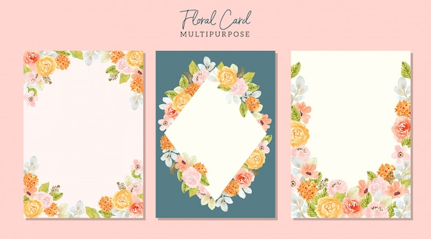 Multipurpose blank card with watercolor floral frame