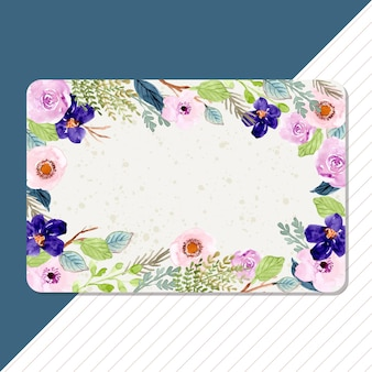 Multipurpose blank card with watercolor flower frame