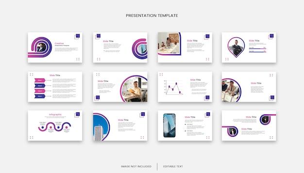 多目的ビジネスグラデーションカラー12スライドプレゼンテーションテンプレート