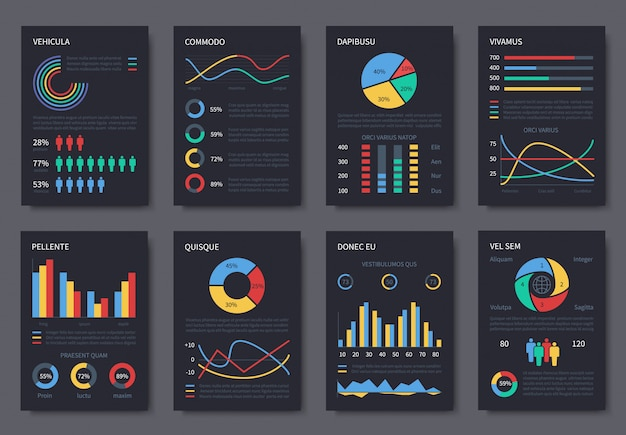 Multipurpose business infographic template for presentation. charts, diagrams and infographics elements on dark pages