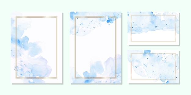 Multipurpose card template in blue watercolor and golden frame