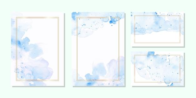 Шаблон многоцелевой карты в синей акварели и золотой раме