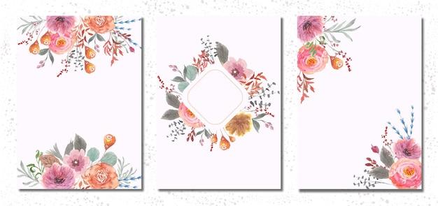 美しい花の水彩画と多目的カードテンプレート