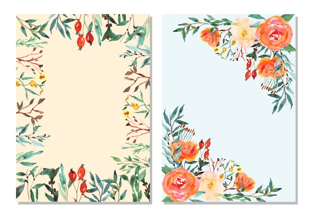 Multipurpose card with watercolor floral frame