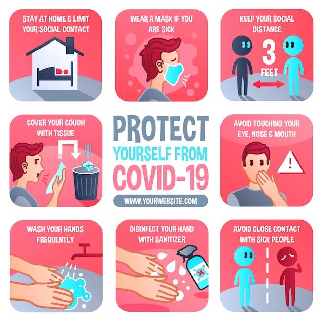 多目的コロナウイルス予防インフォグラフィック