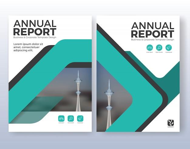 Многофункциональный дизайн макета бизнес-плана. подходит для листовки, брошюры, обложки и годового отчета. бирюзовая цветовая схема в формате а4 макет шаблон фон с кровотечениями.