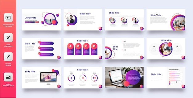 Multipurpose corporate presentation template set