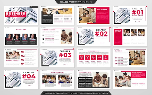 Multipurpose presentation slide layout template premium vector