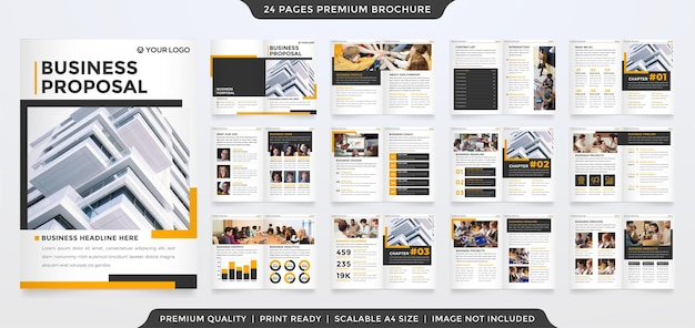 Multipurpose proposal template layout design with minimalist style