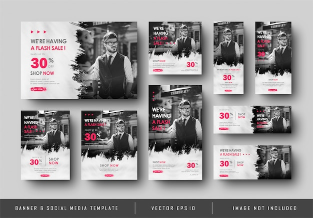 Multipurpose social media digital banner promotion sale black white template collection