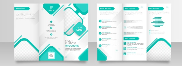 Multipurpose trifold brochure template layout with double-side in cyan and white color.