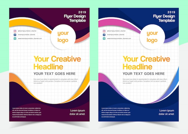 Multipurpose wavy flyer template design with different color