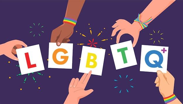 Lgbtq 배너를 들고 다인종 및 성 평등 손