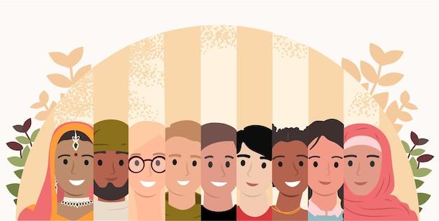 Многорасовая и многокультурная группа людей единство в разнообразии социальное разнообразие многонациональное общество равенство, дружба, концепция совместной работы плоский мультфильм векторные иллюстрации