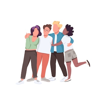 Multiracial community flat color faceless characters