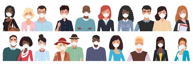 病気を防ぐためにマスクで多民族の異なる年齢の半身の人々のアバター
