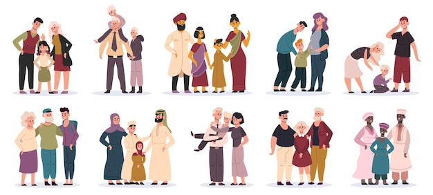 Multiracial families. happy mothers, fathers and children, smiling family portrait