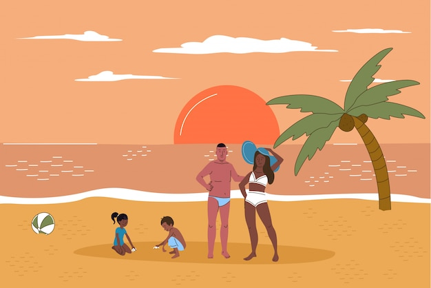Multiracial family on beach at sunset flat line character