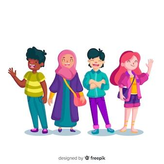 Многорасовая группа разных людей