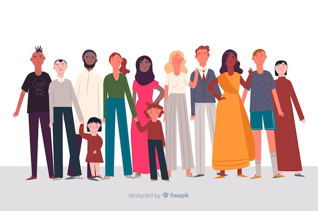 사람들이 평면 디자인의 다민족 그룹