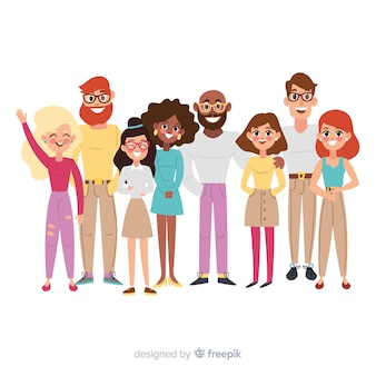 Multiracial group of people illustrated