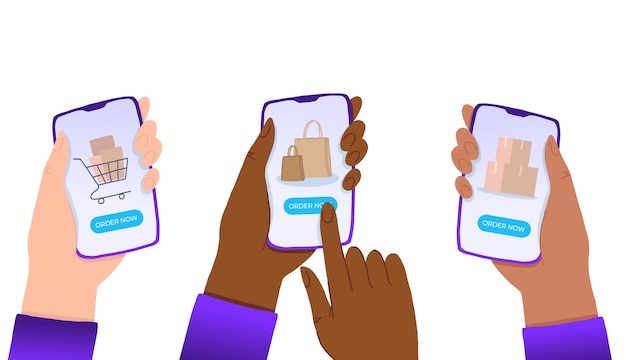 Multiracial hands holding smartphone with order now button on the screen.