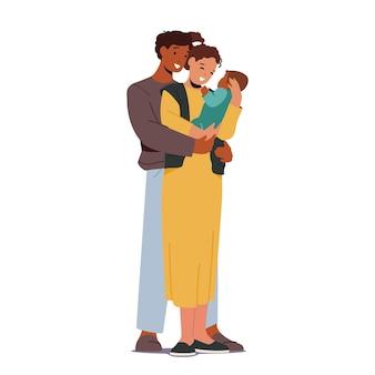 赤ちゃんと多民族の愛情のある親。母と父の白人とアフリカの民族家族のキャラクターが子供を抱いている