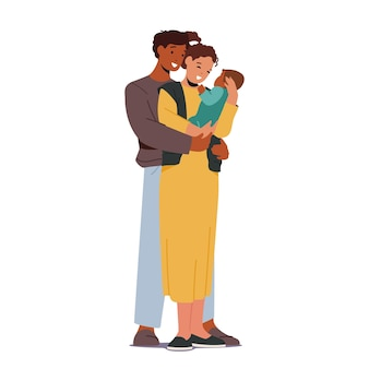 Multiracial loving parents with baby. mother and father caucasian and african ethnicity family characters holding child