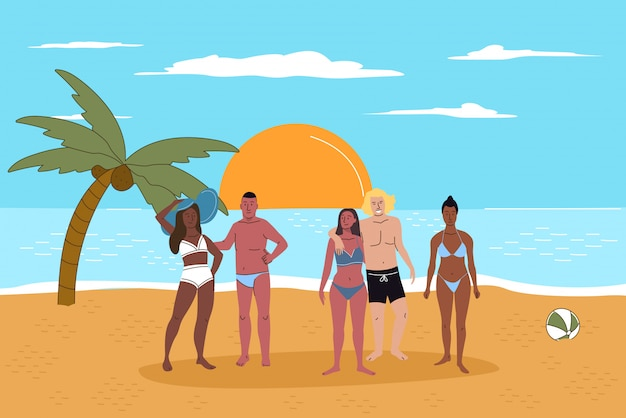 Multiracial people friends on beach at sunset flat illustration. happy young couples relax, parents stand together. coconut palm, calm sea. vacation time together.
