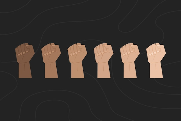 Multiracial raised fists concept