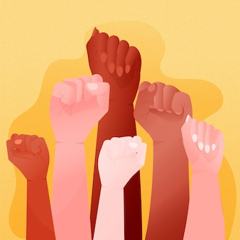 Multiracial raised fists design