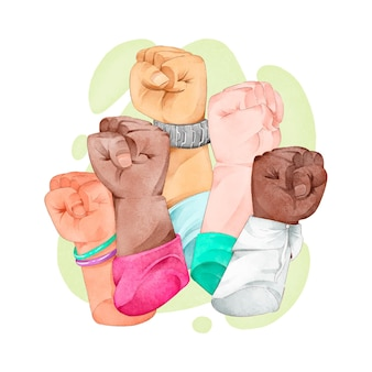 Multiracial raised fists discrimination concept