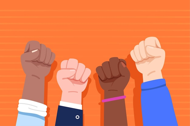 Multiracial raised fists illustrated