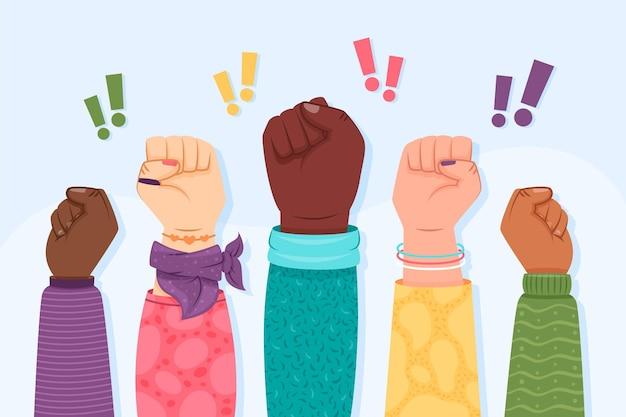 Multiracial raised fists illustration concept