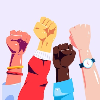 Multiracial raised fists illustration
