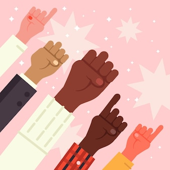 Multiracial raised fists illustration