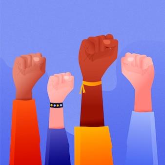 Multiracial raised fists theme