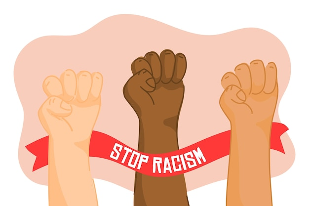 Multiracial raised fists united to stop racism
