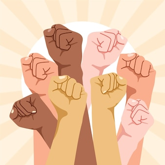 Multiracial raised fists