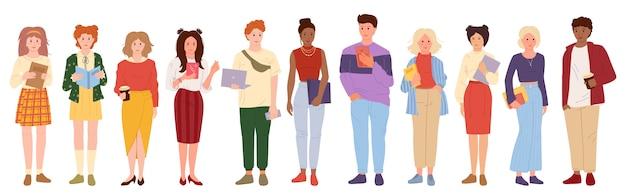 Многорасовых молодые люди студент мультяшном стиле набор. группа мужская женская повседневная одежда и ноутбук