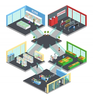Multistore supermarket isometric composition with clothes and milk symbols vector illustration