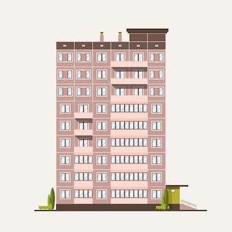 Многоэтажный панельный дом построен в современном архитектурном стиле. жилой дом изолирован