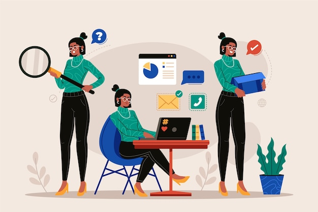Multitask business woman flat design