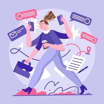Donna d'affari multitask disegnata a mano piatta