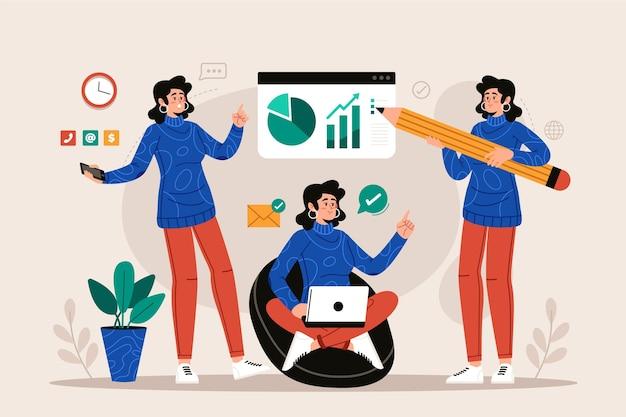 Disegnato a mano della donna di affari multitask