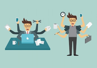 Multitask businessman collection