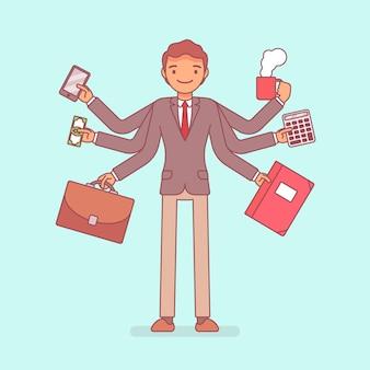Multitask businessman at work