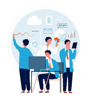 Multitask concept. businessman making different deals and goals busy manager in action urgent tasks vector characters. multitasking busy work person, illustration job multi task