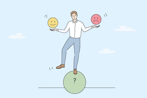 Многозадачность и аплодисменты бизнес-концепции. молодой улыбающийся бизнесмен, стоящий на балансировке формы круга рулона, держа в руках положительные и отрицательные эмодзи, векторная иллюстрация